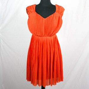 H&M Coral Pleated Empire Waist Dress 8
